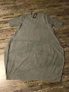 AKH Lagenlook Leinen Ballon Kleid  in grau-weiß gestreift EG (44-50)NEU
