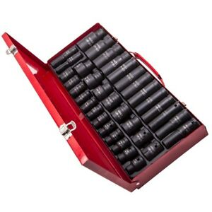 35pc 1/2 inch Drive Deep Impact Socket Tool Set Metric Garage Workshop 8-32mm ES