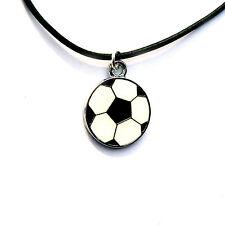 Fußball Herren Halskette Sport Anhänger Leder schwarz Damen 45 cm Schmuck Neu