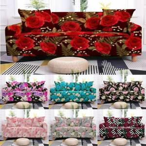 2/3/4 Seater Elastic Sofa Covers Flower Floral Slipcover Couch Chair Protector