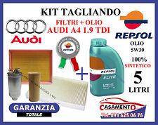 KIT TAGLIANDO OLIO MOTORE REPSOL 5W30 5LT + FILTRI AUDI A4 1.9 TDI