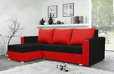 corner sofa bed black red fabric sleeping option living room storage