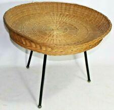 RATTAN TISCH TABLE IN DER ART WIE GIAN FRANCO LEGLER TRIPOTT (KAT)