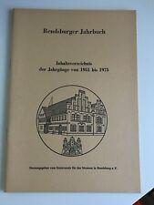 Rendsburg Jahrbuch, Inhaltsverzeichnis der Jahrgänge 1951-1975