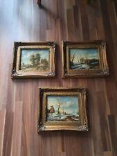 3 antike Bilder mit Landschaftsmotiv, Ölfarbe mit Signatur,  38 cm x 33 cm
