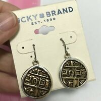 New Lucky Brand Earrings Silver Golden Round Mini Cute Vintage Style #23