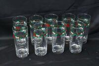 Tienshan Deck the Halls Glasses Tumblers 16 oz Lot of 9