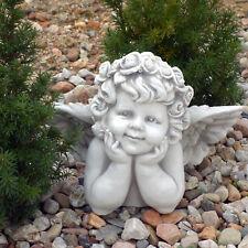 Massiver Stein Engel Büste mit Flügel Grabdeko Raumdeko aus Steinguss frostfest