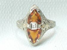 Estate Antique 14K White Gold Fire Opal & Diamond Filigree Ring