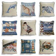 "Tapestry Cushion Cover Seaside Beach Coastal Cushions Covers 18"" x 18"""