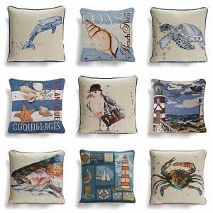 "Beach Huts Nautical Seaside Coastal Handmade Cushion Cover Red Blue Grey 16/"""