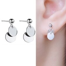 Solid 925 Sterling Silver Double Disc Circle Bead Ball Drop Dangle Stud Earrings