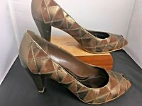Franco Sarto Women's Shoes Metallic Bronze Leather Pumps Patchwork Peep Toe 8.5M