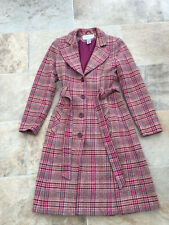 Ladies Warehouse Pink Check Fitted Wool Coat - Size 10