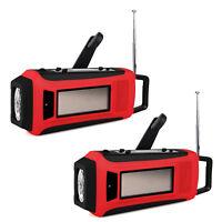 2x Digital Emergency Solar Hand Crank FM/AM/NOAA Weather Radio LED Flashlight