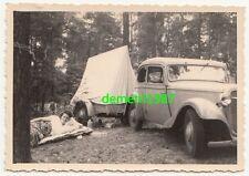 Foto DKW oder Adler Automobil mit Zelt Anhänger um 1950 Oldtimer Auto PKW kfz !