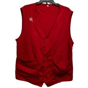 Target Adult S Red Twill Button Front Employee Team Member Vest