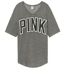 Victoria Secret PINK Grey/Black Logo Boyfriend V-Neck Jersey Oversized Tee L