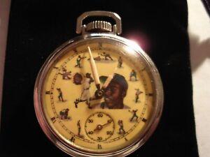 1940s Westclox 16s Pocket Watch Baseball Hank Aaron Theme Dial & Case Runs Well.