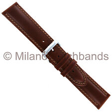 20mm Speidel Medium Brown Cross Stitched Oiled Genuine Leather Mens Watch Band
