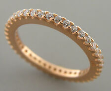 NEW STERLING SILVER CZ ETERNITY WEDDING BAND RING ROSE GOLD PLATED SIZE 10 - 2mm