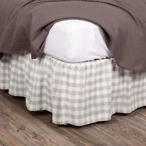 "VHC Brands Annie Buffalo Farmhouse Grey Check King Bed Skirt 78x80x16"""