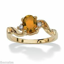 WOMENS 14K GOLD PLATED BIRTHSTONE CITRINE AND CRYSTAL RING SIZE  5 6 7 8 9 10