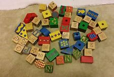 Lot of 55 Wood (Wooden) Blocks Letters Animals Pre School Child Toy Basic Colors