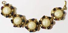 Bijou Vintage bracelet ancien cabochon navette verre a reflet couleur or * 4642