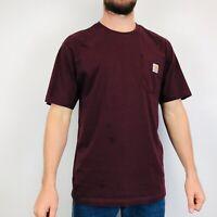 Vintage Carhartt T-Shirt Men's Medium Maroon Logo Pocket Tee