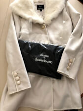 Dennis Basso Faux Suede Fur Collar Ivory Jacket Coat Womens Size Small NWOT