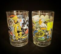 Two (2) McDonald's Walt Disney World 100th Anniversary Advertising Glasses 》