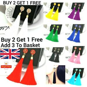 Women's Big Boho Long Tassel Earrings Tassle Crystal Dangle Drop Trendy Fashion
