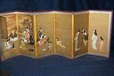 Vintage Japanese Byobu 6 Panel Screen - Hikone  (Japan National Treasure)