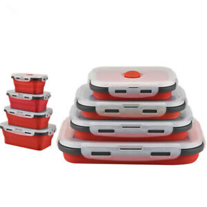 4 Pcs Silicone Lunch Box Collapsible Food Container Storage Container Microwave