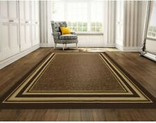 8 ft. x 10 ft. Area Rug Bordered Design 100% Nylon, Fade/Stain-Resistant, Brown