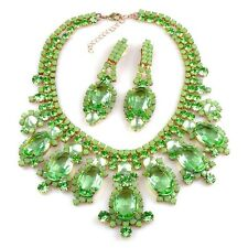 Juliana style CZECH Opaque Green Peridot Rhinestone Glass Couture Necklace Set