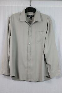 Nat Nast Luxury Originals 100% Silk Shirt Men's L Gray Taupe Button Front
