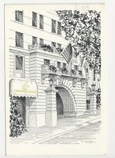 Pencil Sketch Postcard,The Stanford Court Hotel on San Francisco's Nob Hill 1976