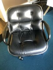 Charles Pollock Executive Chairs in Black Leather for Knoll a 1994