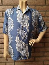 Hilo Hattie Hawaiian Shirt Mens Large Silk Blue White Pineapples Leaves Aloha
