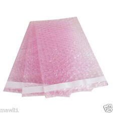 100 4X7.5 Anti-Static Pink BUBBLE OUT POUCHES BUBBBLE WRAP BAGS