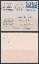 Bund 1954 Heuss Waagerechtes- Paar MeF Nr :260 x sauber auf Brief  KW= 900,- €