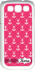 Custom Monogrammed Pink Faith Anchor Design Samsung Galaxy S3 Case Cover