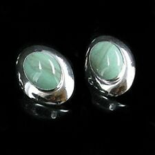 .925 Sterling Silver Natural Variscite Post Earrings