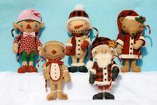 Primitive Pattern Christmas Gathering  boys,Santa,snowman,Elf,Teddy,Gingerbread