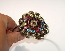 Fantasy georgian sparkle bling formal big crystal Vintage cuff bracelet