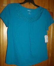 St. John's Bay PS Teal Blue Embroidered Floral Crochet Neck Tee/Top Cotton
