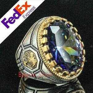Turkish Handmade 925 Sterling Silver Tourmaline Stone Mens Luxury Ring All Sizes