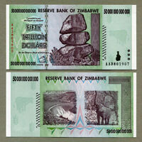 Zimbabwe 50 Trillion Dollars  Banknote AA+ 2008 UNC Uncirculated P-90